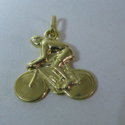 9ct Gold Lightweight Cyclist on Bike Pendant 0.8g